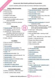 Seznam věcí do porodnice