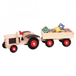 BINO dřevěný traktor s gumovými koly a vlekem
