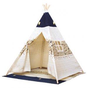 Bino Indiánský stan - Dětské Teepee béžovo-modrý