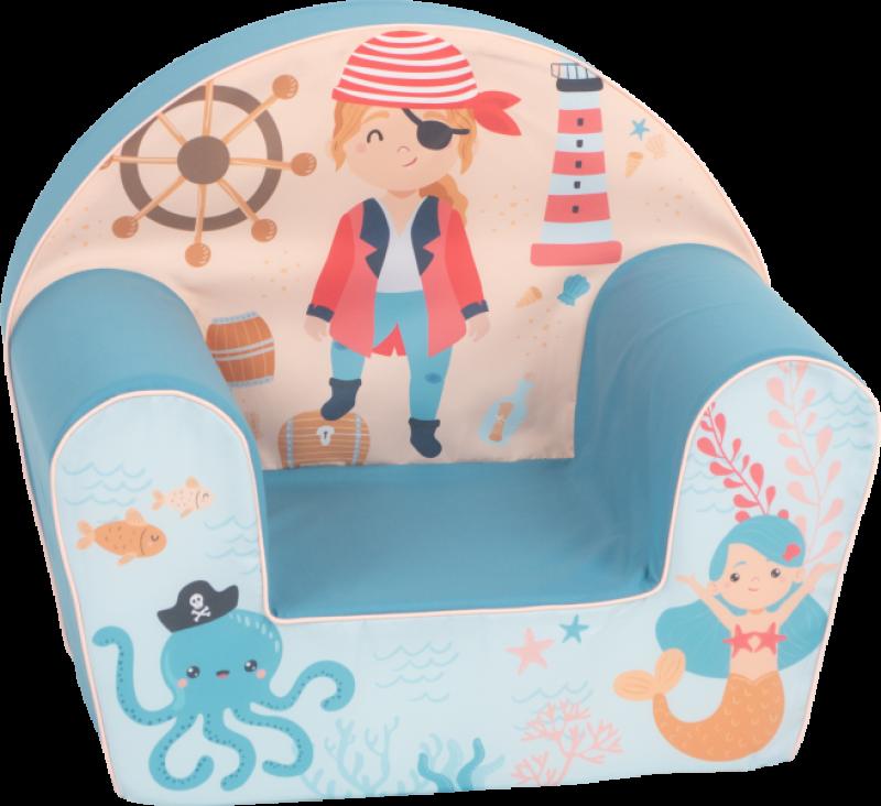 Delsit Dětské křesílko, pohovka - Pirát, mořský svět, modrá