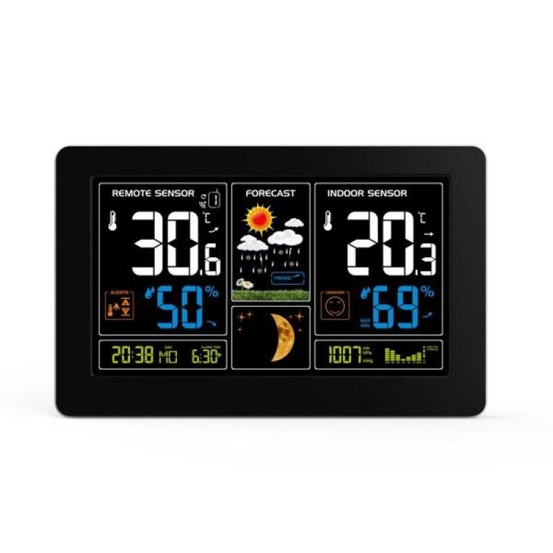Meteostanice TE81, extra velký barevný LCD, teplota, vlhkost, tlak, RCC, USb nabíjení, černá
