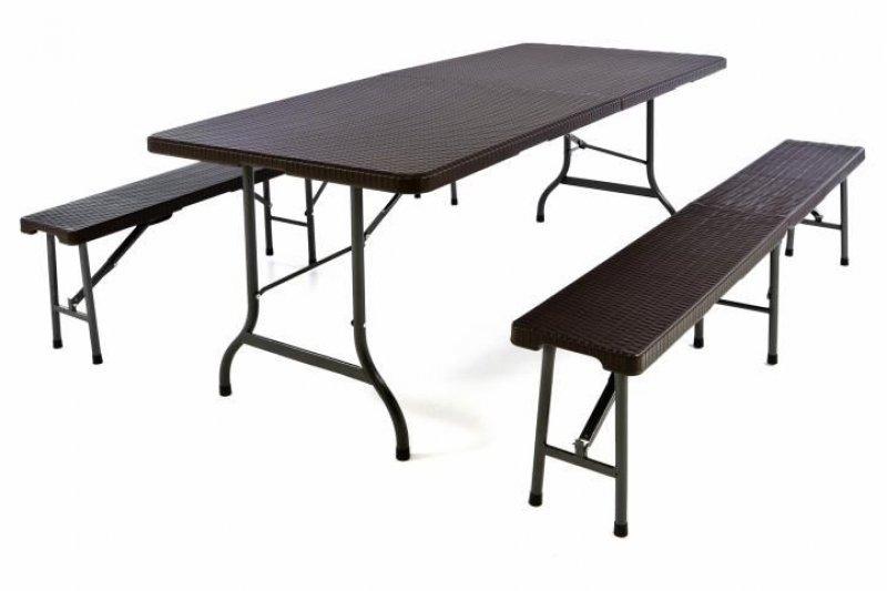 Zahradní set v ratanové optice - stůl + 2 lavice - 180 cm