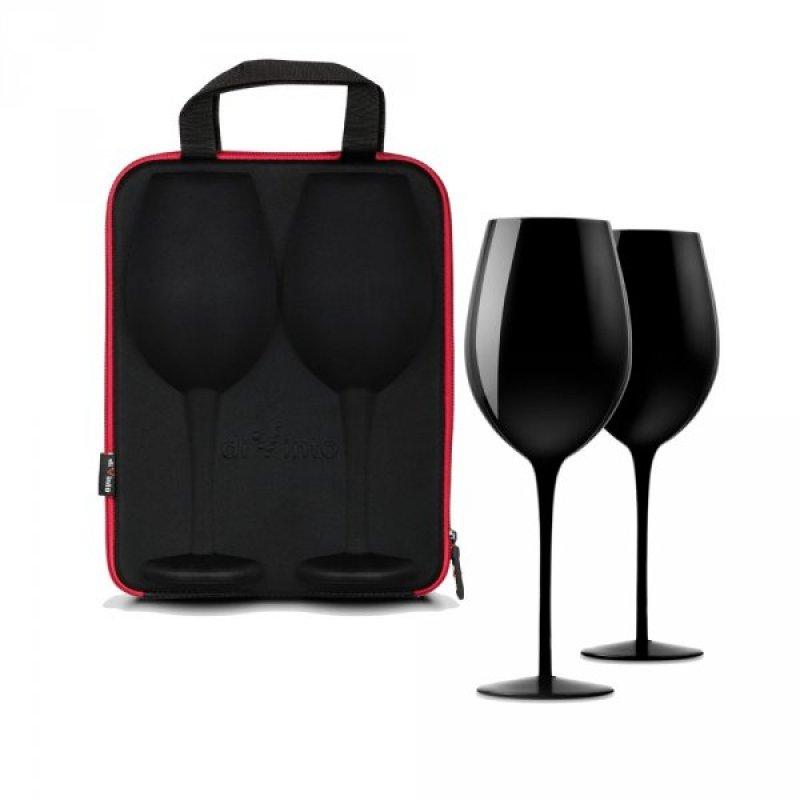 Slavnostní obří sklenice na víno - 2ks v dárkovém pouzdru - Černá