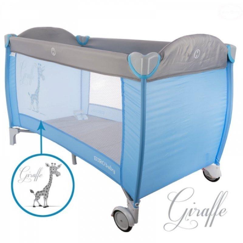 Euro Baby Dětská cestovní postýlka Giraffe - šedá, modrá, Ce19