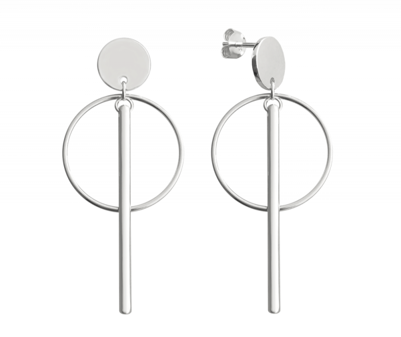 Stříbrné kruhové náušnice MINET s tyčkami