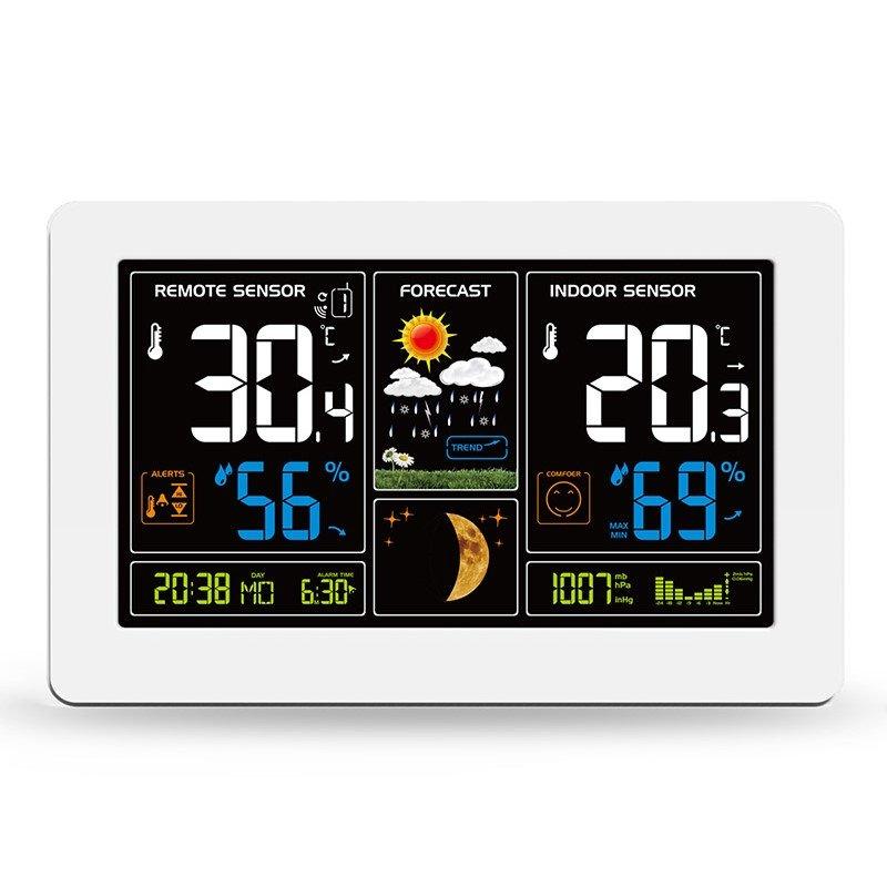 Meteostanice TE81W, extra velký barevný LCD, teplota, vlhkost, tlak, RCC, USB nabíjení, bílá