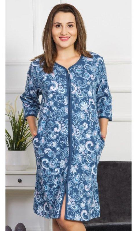 Dámské domácí šaty s tříčtvrtečním rukávem Silvie - petrolejová - 1XL