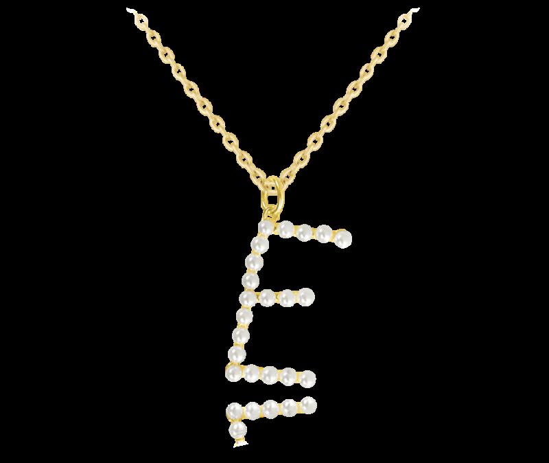 """Pozlacený stříbrný náhrdelník MINET písmeno """"E"""" s perličkami"""