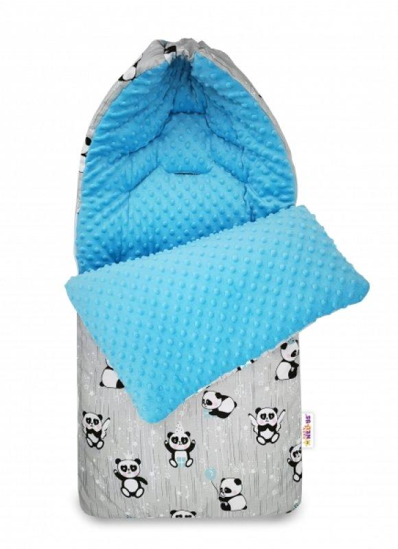 Bavlněný fusak Baby Nellys, minky, Happy Panda, 45 x 95 cm - šedá/minky modrá