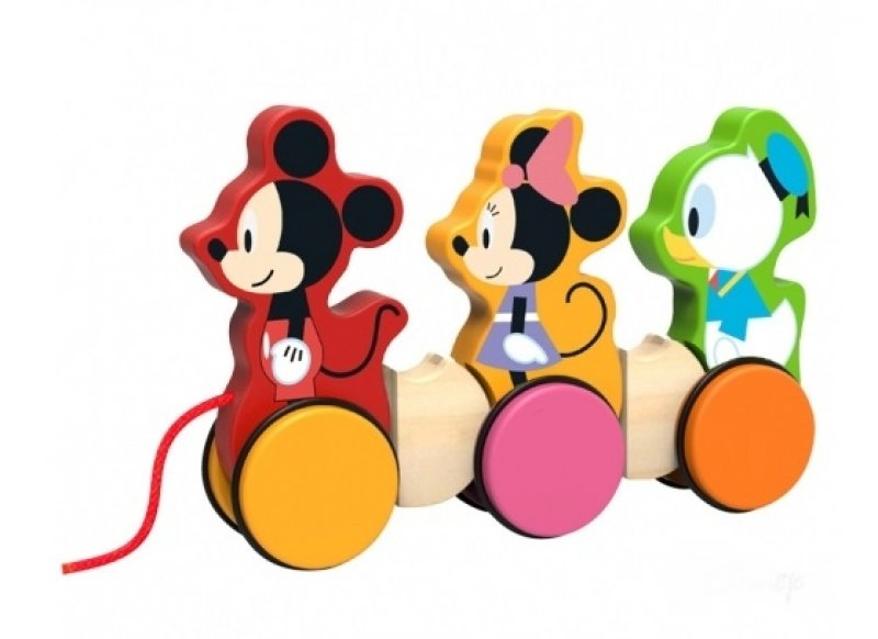 Dřevěná hračka Disney tahací, Miceky, Minnie a Kačer Donald