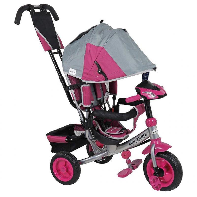Dětská tříkolka s LED světly Baby Mix Lux Trike šedo- růžová