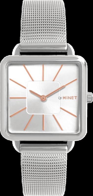 Stříbrné dámské hodinky MINET OXFORD SILVER ROSE MESH