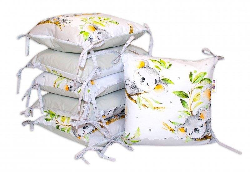 Bavlněný polštářkový mantinel Baby Nellys Medvídek Koala - šedý