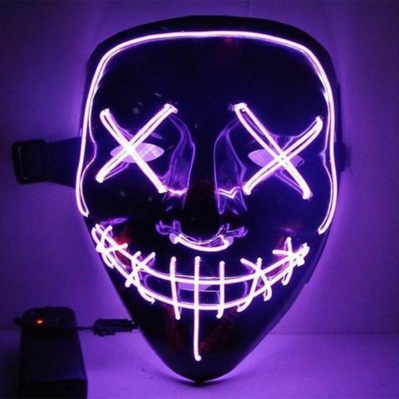 Maska se světelným efektem - The Purge - Fialová