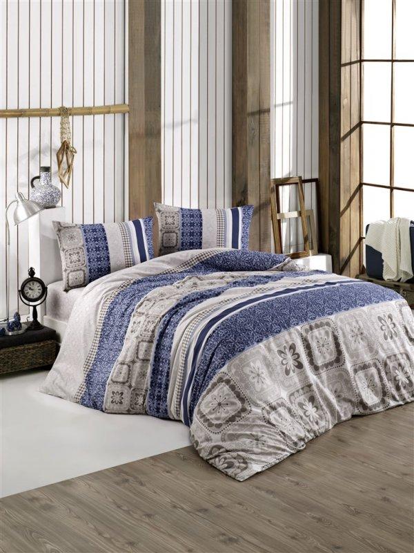 Povlečení francouzské bavlna 240x220,70x90 Scarlet blue, Výběr zapínání: - zipový uzávěr