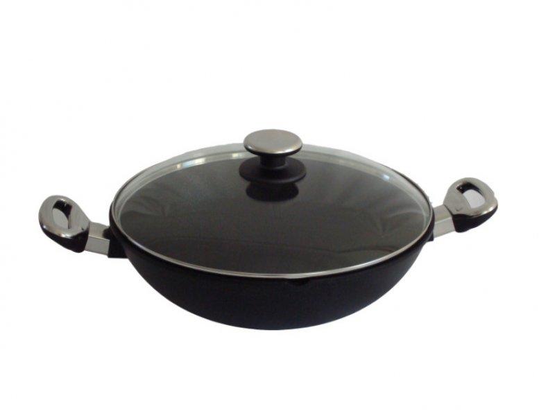 Titanový wok 32cm s poklicí 4l