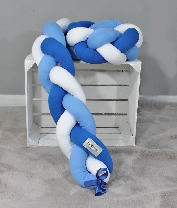 Mantinel Baby Nellys pletený cop - bílá, sv. modrá, tm. modrá