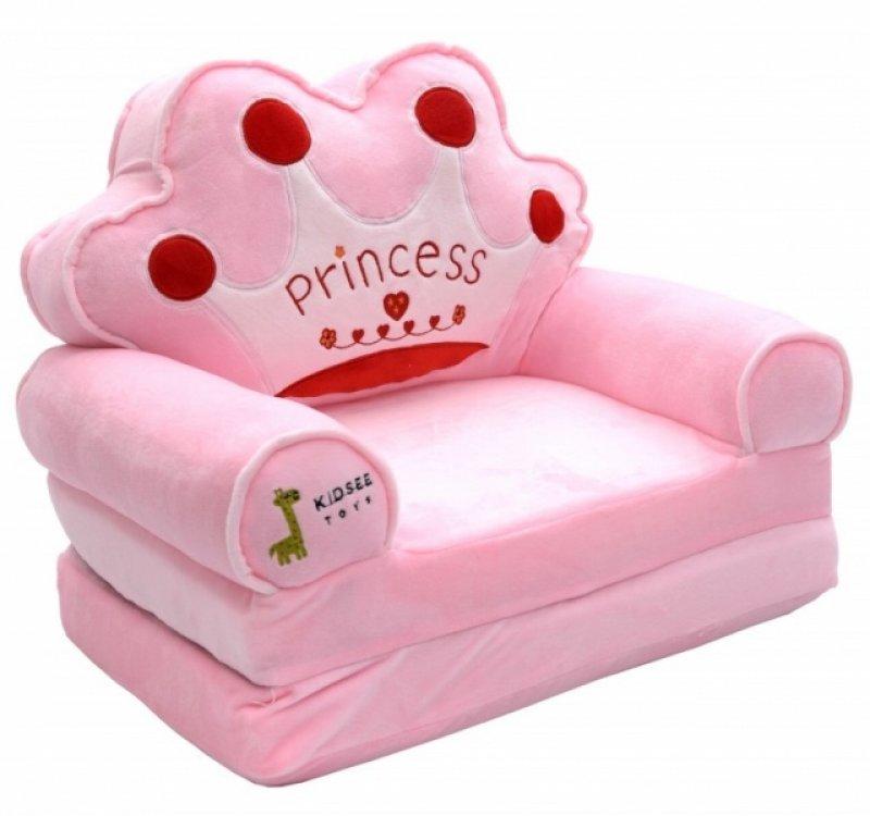 Baby Nellys Plyšové křesílko rozkládací - růžové 3v1 - Princess