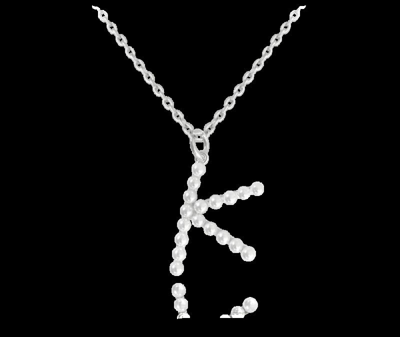 """Stříbrný náhrdelník písmeno """"K"""" s perličkami"""