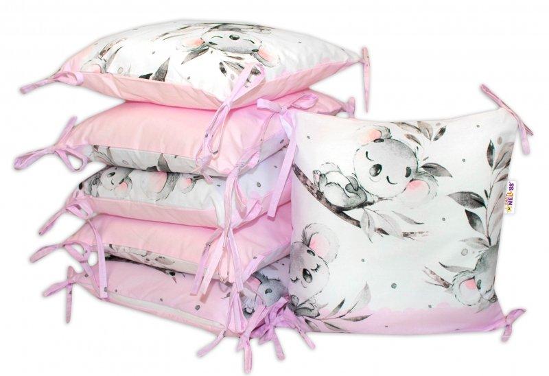 Bavlněný polštářkový mantinel Baby Nellys Medvídek Koala - růžový