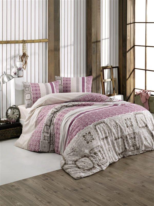 Povlečení francouzské bavlna 240x220,70x90 Scarlet pink, Výběr zapínání: - zipový uzávěr