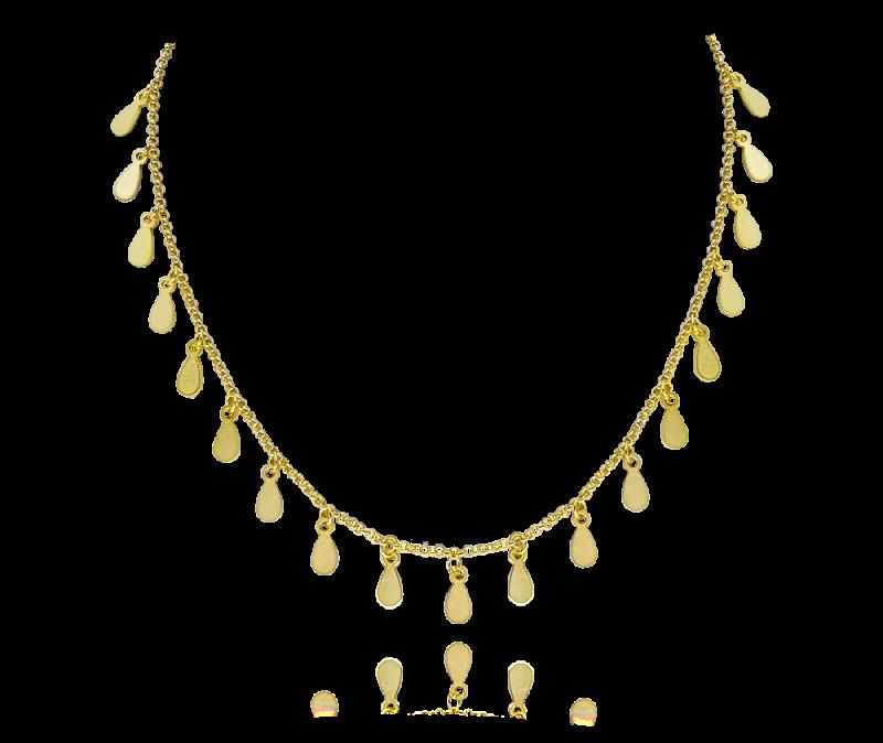 Pozlacený stříbrný náhrdelník s drobnými přívěsky