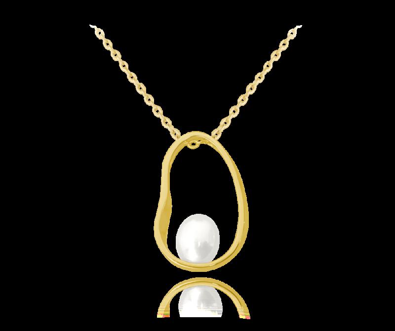 Pozlacený stříbrný oválný náhrdelník s perlou