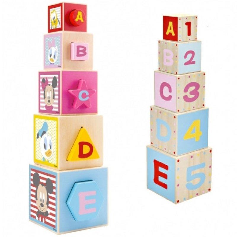 Dřevěná edukační věž z kostek Disney Mickey, 12 x 46 x 12 cm