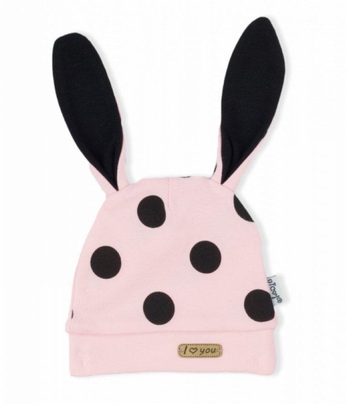 NICOL Kojenecká čepice Bunny puntík - světle - růžový, vel. 86 - 86 (12-18m)