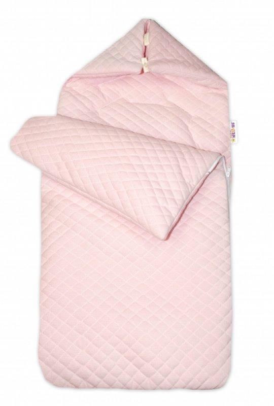 Bavlněný fusak Baby Nellys prošívaný, velvet , 45 x 95 cm - růžový