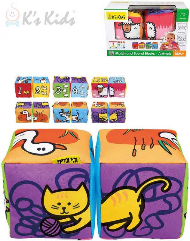 K´S KIDS Baby soft kostky textilní 2ks zvířátka počítání na baterie Zvuk