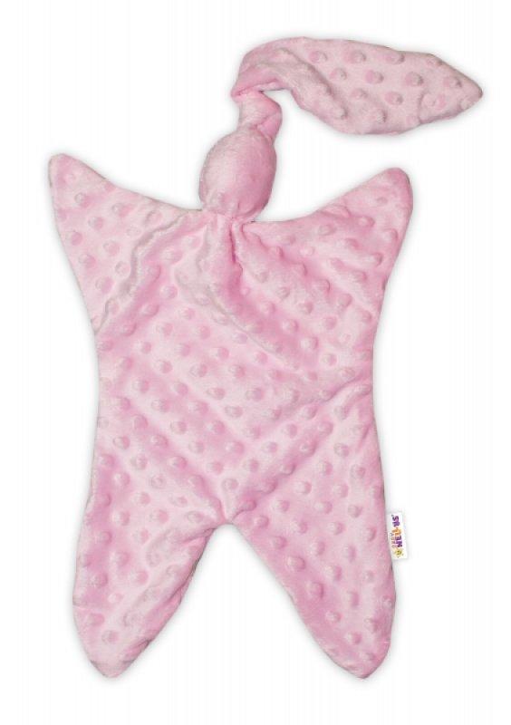 Baby Nellys Mazlík, přítulníček minky Uzlík 43x25 cm - růžový