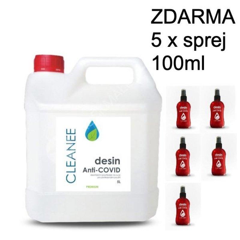 Dezinfekce na ruce CLEANEE - 5 litrů - CERTIFIKOVÁNO + 5x lahvička s rozprašovačem
