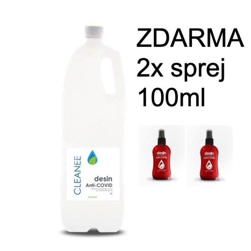 Dezinfekce na ruce CLEANEE- 1 litr - CERTIFIKOVÁNO + 2x lahvička s rozprašovačem