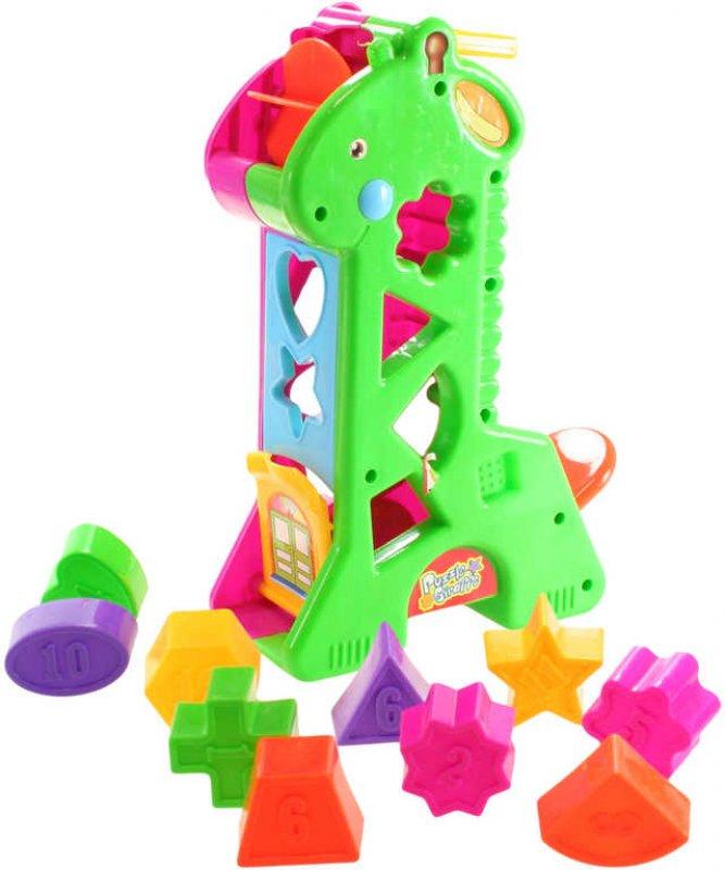 Baby žirafka vkládací tvary s čísly plastová pro miminko v síťce