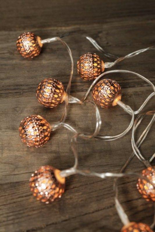 Svítící LED koule na řetězu - oranžová