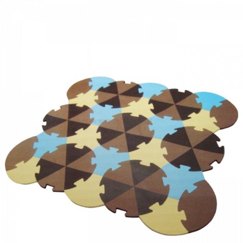 Tulilo Dětská hrací podložka puzzle, 27 ks - Trojúhelníky - hnědé, K19