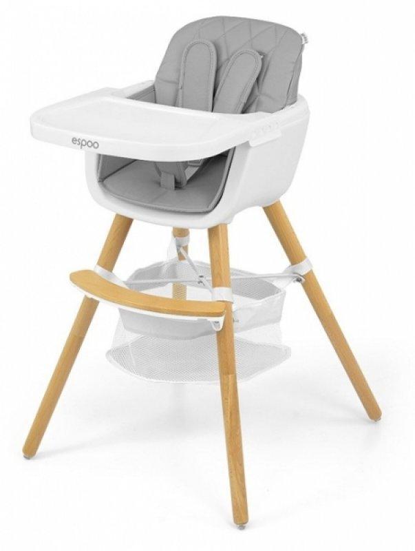 Milly Mally Luxusní jídelní stoleček, křesílko Espoo 2v1, věk: 6 - 36m, šedá