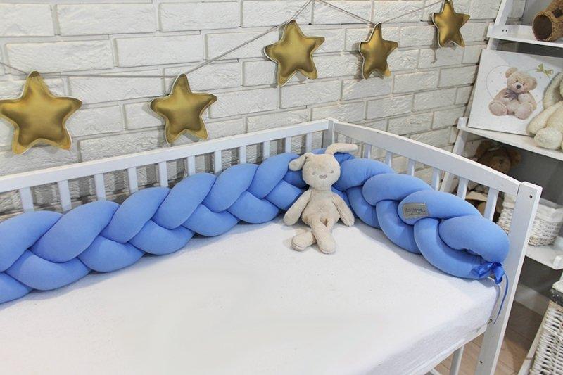 Mantinel Baby Nellys pletený cop - světle modrý