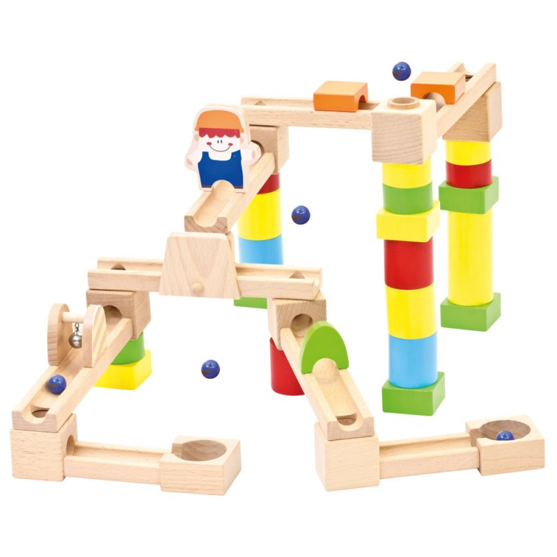 Dřevěná dětská stavebnice - menší kuličková dráha
