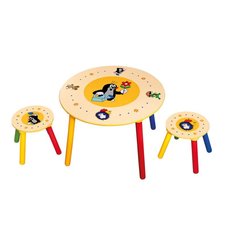 Dětský stolek, 2 sedátka, Krteček