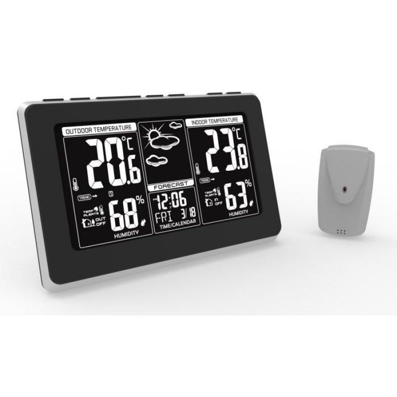 Meteostanice TE82, extra velký LCD displej, teplota, vlhkost, RCC, černá, stříbrná, teplotní alarm