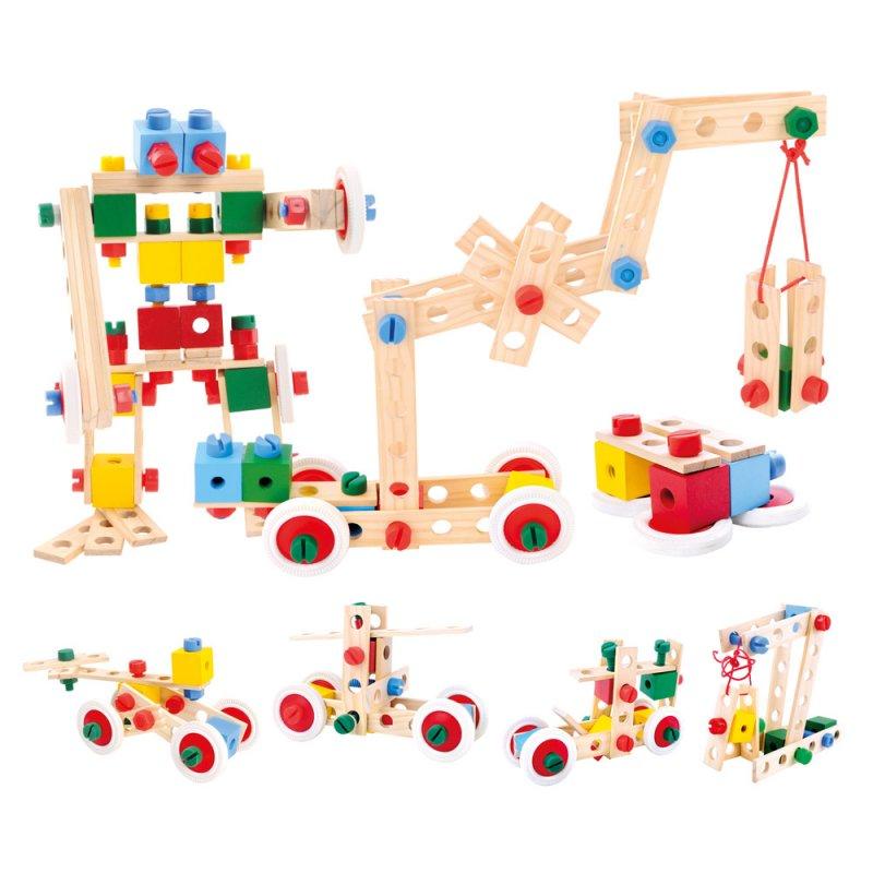 Bino Dětská barevná dřevěná stavebnice v kyblíku
