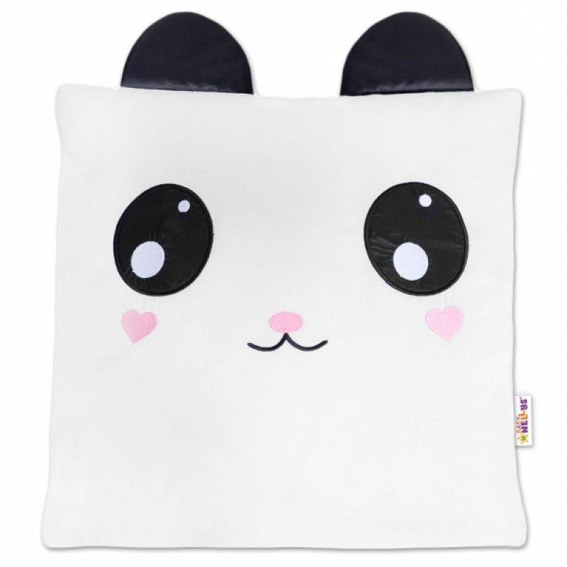 Baby Nellys Dekorační polštářek s oušky, 40x40cm - Panda