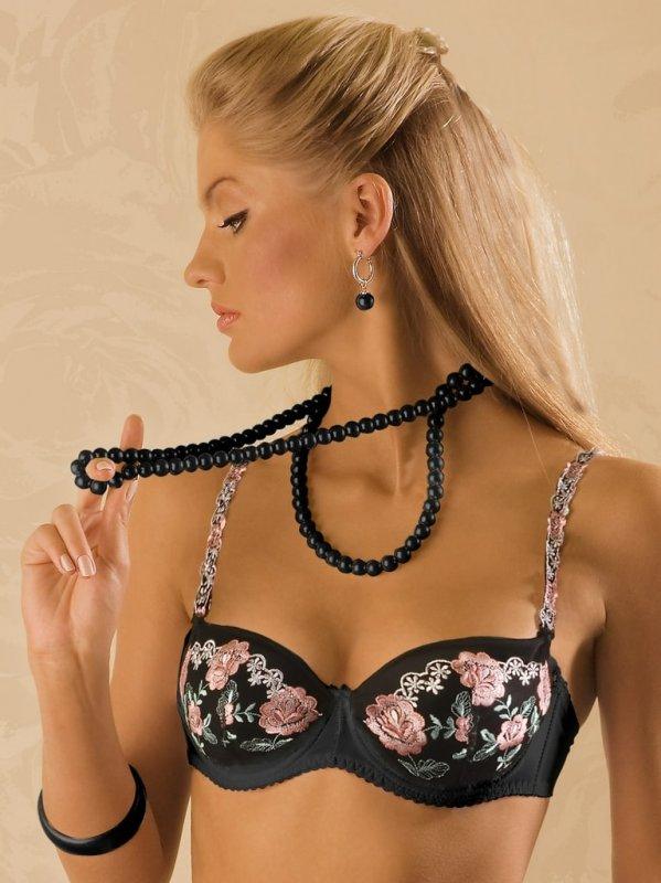 Podprsenka BENEFIT Opal Bardotka černá s růžovou výšivkou - 70D