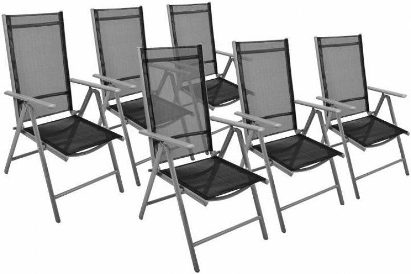 Garthen Sada zahradních skládacích židlí, 6 kusů, černé