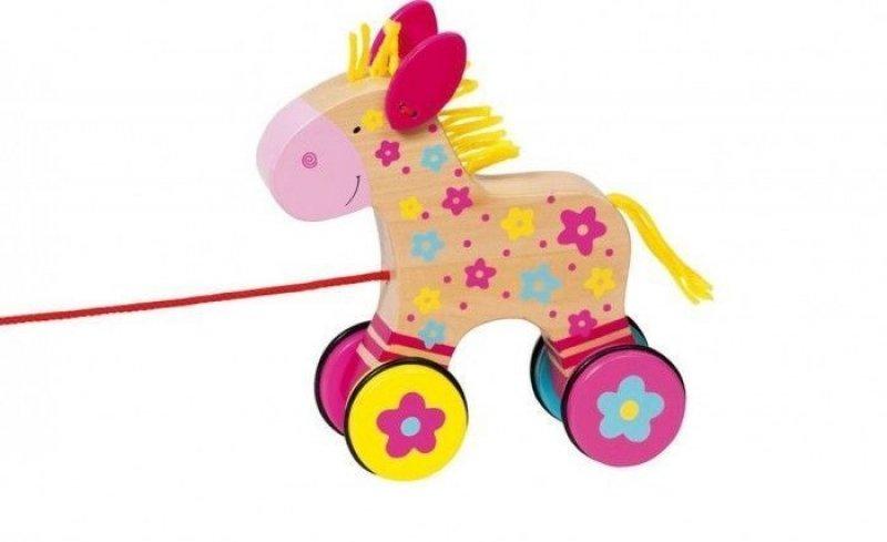 Goki Edukační dřevěná hračka 15 cm tahací - Koníček Klára