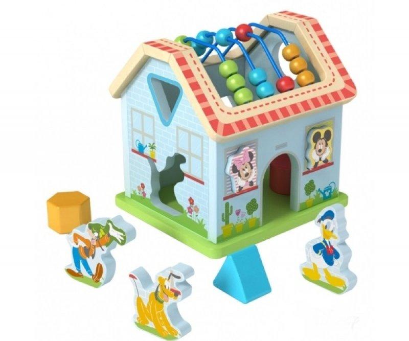 Dřevěný interaktivní Disney domeček, Mickeyho svět - 21x19,5x21,5 cm