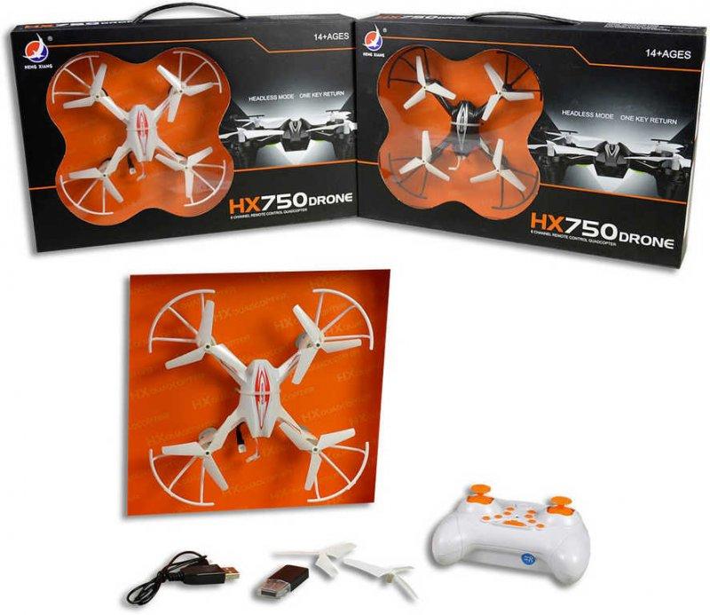 Dron HX750 s kamerou a foťákem 17cm na dálkové ovládání 2,4GHz USB 2 barvy