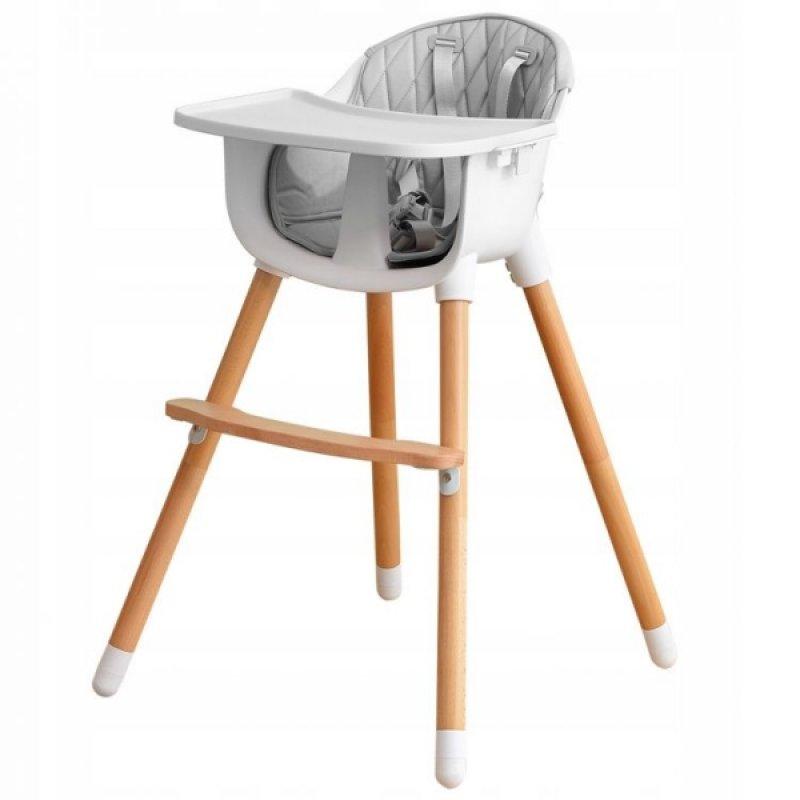 Dřevěná jídelní židlička 2v1 Eco Toys - šedá